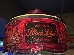 1973 Carling Black Label Beer Light Lrg Faux Stained Glass Hanging Lamp