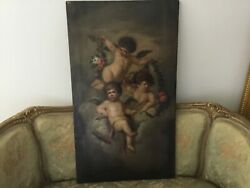 18th Cent French School Oil On Canvas Painting Putties Flowers From Chateau