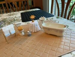 Vintage Pitty Pat Dollhouse Miniature Bathroom Set And Accessories