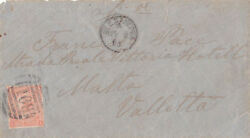 British Office In Alexandria 1875 Cover Single Franking To Malta Sg.95 Plate 14