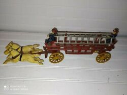 Vintage Iron Toy Horses And Fire Wagon