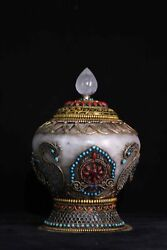 11'' Old Tibetan Natural Crystal Inlay Silver Gold Gem Container Jar Vase Statue