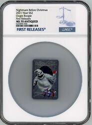 Disney Oogie Boogie The Nightmare Before Christmas 1oz Silver Coin Ngc Ms70 Fr