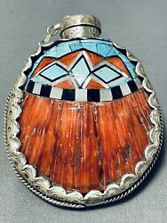 One Of The Best Ever Vintage Navajo Ray Adakai Tuequoise Sterling Silver Flask