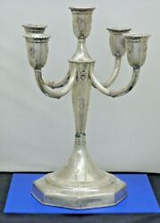 5 Arm Detailed Candelabra In Sterling Silver Mid-20th Century Israel Judaica