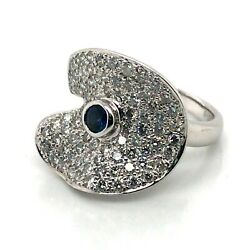 Certified Ocean Wave Style Genuine Diamonds And Sapphire 14kt Gold Ring Micro-pave