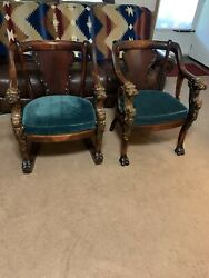 Vintage Lion Head And Feet Wood Chair