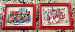 Vintage 1980and039s Home Interiors Homco Baby Nursery Teddy Bear Pictures Red Frames