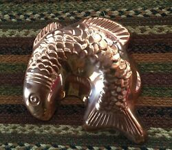Vintage Copper 8 Fish Mold With Hanger French Country