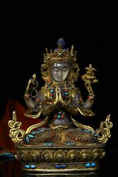 8.5and039and039 Tibetan Bronze Gold Inlay Gem White Rock Crystal Quartz Four Hand Guanyin