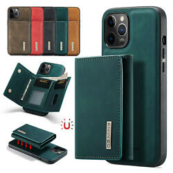 For iPhone 13 12 11 Pro Max XR XS 7 8 Removable Leather Flip Magnetic Card Case