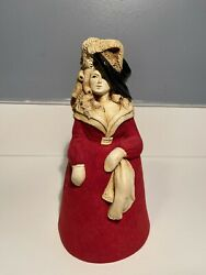 Rare Vintage Beautiful Marty Sculpture Lady Bell Red Dress By Martha Carey