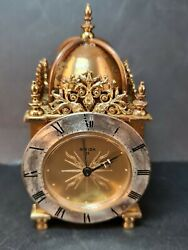 Vintage Alarm Clock Brass And Gold Plated Swiza 8 Day Traveller Switzerland Made