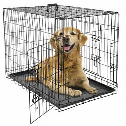 24 36 42 Dog Crate Kennel Folding Metal Pet Cage 2 Door With Tray Pan Black