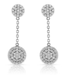 2.30ct Natural Round Diamond 14k Solid White Gold Dangle Butterfly Earring