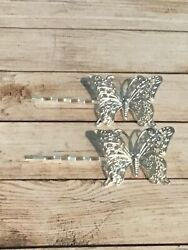 Silver Finished Filigree Stamping Butterfly Hair Pins Set Of 2
