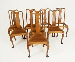 Antique Set Of Chairs Queen Anne Style Oak 8 Chairs Scotland 1910 B2327