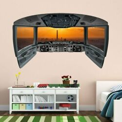 Airplane Pilot Cockpit Wall Mural City Window Wall Decal CP17