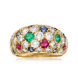 Vintage Diamond And Multi-gemstone Pave Ring In 18kt Gold Size 5