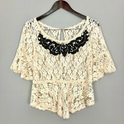 Free People With Flair Blouse Sheer Ivory Floral Lace Peplum Boho Womenand039s Size M