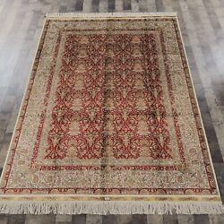 Yilong 5'x7' Red All Over Oriental Handmade Silk Carpets Home Indoor Rug 798a