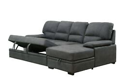 Sectional W Storage Chaise Pull Out Bed Contemporary Graphite Color Fabric Sofa