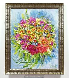 Anastasia Woron A Bouquet Original Signed By Author Oil Painting 2003