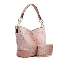 MKF Collection Wandy Soft Vegan Leather Hobo and Wallet Set by Mia K. Blush $29.99