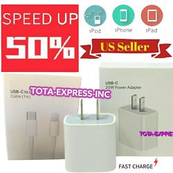 Original 20w Usb-c Power Adapter Cable Fast Charger For Iphone 11/ 12 Pro Max/xr