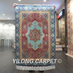 Yilong 3and039x4.5and039 Handmade Silk Carpet Classic Red Blue Oriental Area Rug Z529a