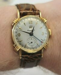 Vintage Solid 14k Yellow Gold Benrus Pointer Date Manual Wind Menand039s Watch Works