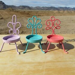 Partylite, Set Of 3 Different Colored Metal Chair Tea Light Holders