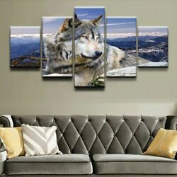 5 Pieces Animal Wolf Paintings For Canvas Printed Posters Wall Art Picture