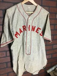Vintage Marines Game Used Flannel Wool Baseball Jersey Us Marine Corps Size 40