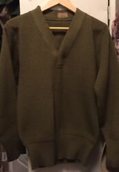 Vintage 40s Wwii Us Army Military V Neck Heavy Wool Uniform Sweater. Rare.