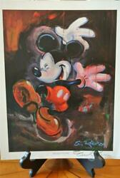 Disney Eric Robison Signed Mickey Mouse Dancing In The Rain Lithographic Print
