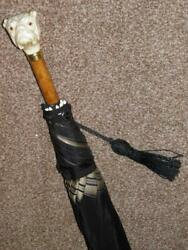 Antique Black Canopy Umbrella W/carved Bull Dogand039s Head Handle And Inset Glass Eyes