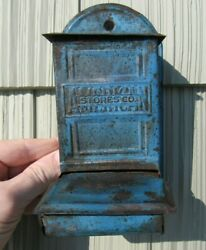 Antique American Stores Company Tin Match Holder Rare Blue Color Great Condition