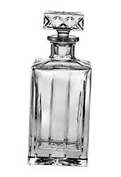 - Hand Cut - Mouth Blown - Crystal - Whiskey - Square Decanter - 30 Oz. -