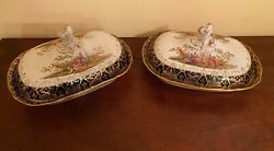 2 Matching Antique Meissen Covered Serving Dishes Cobalt Blue Hand Painted