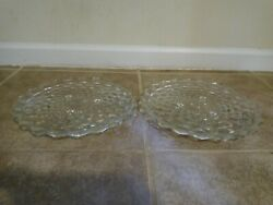 Lot Of 2 Fostoria American Cubist Clear Glass 3 Footed 12 Cake Plates