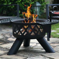 Bali Outdoors Wood Burning Round Fire Pit Barbecue Pit Bbq Backyard Black