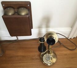 Old-fashion All Brass Western Electric Candlestick Telephone With Oak Ringer