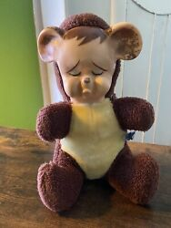 """Vintage 10"""" Knickerbocker Pouting Teddy Bear Plush With Rubber Face 1950's"""
