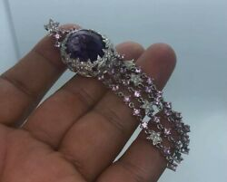 Aud 9400 Stunning 18k Solid Gold Diamonds And Amethyst Andsapphire Pendant 17.2g