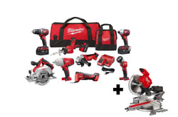 Milwaukee Tool M18 Cordless Combo Kit 8-tool With Fuel 7-1/4 In. Miter Saw