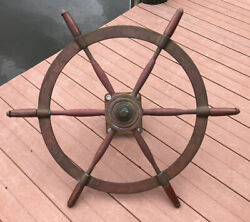 """Antique 30"""" Brass W/ Wood Handle Ships Wheel And Mount - 1928 Nivens Yacht Salvage"""