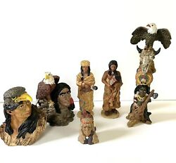 Lot of 6 Native American Resin Figurines Eagles