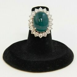 18k Gold Ladies Ring With Large Oval Synthetic Emerald And 18 Diamonds Pin10