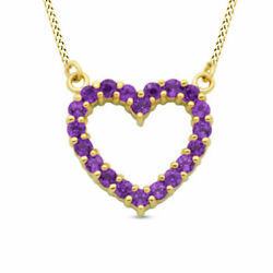 Amethyst Heart Necklace In Sterling Silver With 18k Gold Over Valentine Gifts
